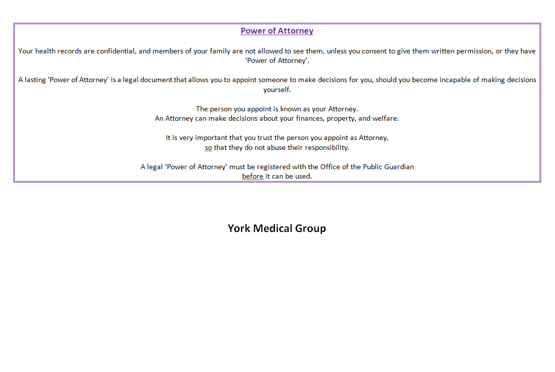 Practice Policies - York Medical Group - Information about the